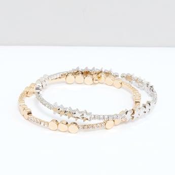 Studded Cuff Bracelet - Set of 2