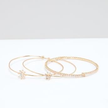 Studded Open End Bracelet - Set of 3