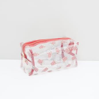 حقيبة صغيرة بسحّاب إغلاق وطبعات