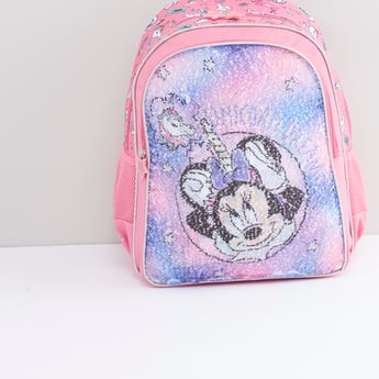 Minnie Mouse Sequinned Backpack with Adjustable Shoulder Straps