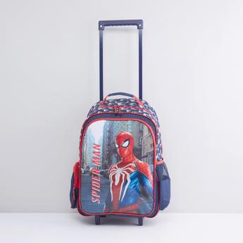 حقيبة ظهر بعجلات بطبعات سبايدرمان مع مقبض قابل لسحب
