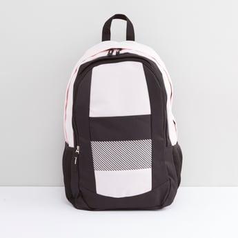 Colourblock Panelled Backpack with Adjustable Shoulder Straps