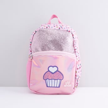 Printed Backpack with Cupcake Applique