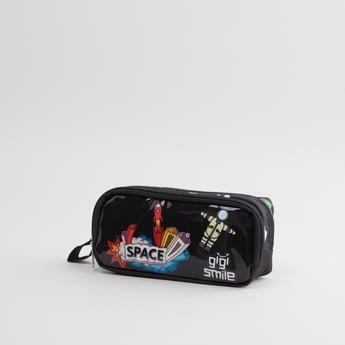 Printed Pencil Case with Double Zip Closure