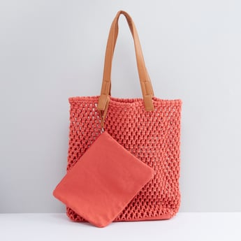 Weave Pattern Tote Bag with Pouch