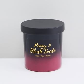 Peony and Blush Suede Jar Candle with Lid