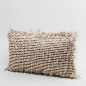 Textured Rectangular Filled Cushion with Zip Closure