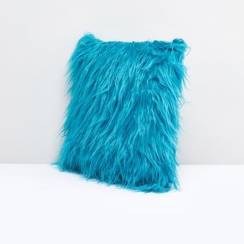 Plush Detail Filled Cushion with Zip Closure