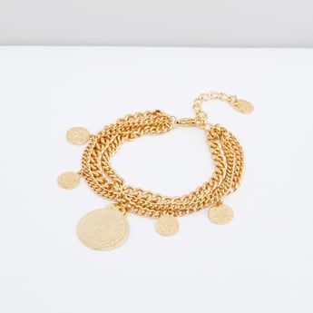 Multi-Layered Coin Pendant Chain Bracelet