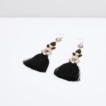 Embellished Earrings with Tassel Detail