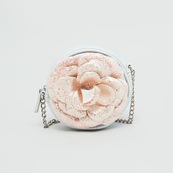 Floral Applique Circular Crossbody Bag with Glitter Finish