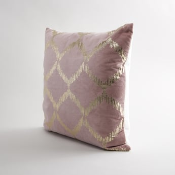 Metallic Glazed Square Filled Cushion with Zip Closure