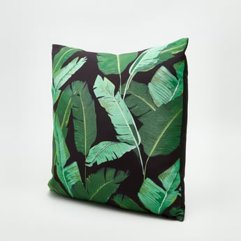 Leaf Printed Square Filled Cushion