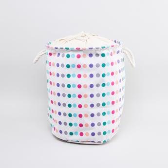 Polka Dot Printed Laundry Hamper with Handles - 49x38 cms
