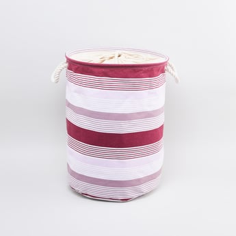 Striped Cylindrical Laundry Hamper with Handles