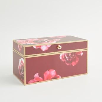 صندوق مستطيل الشكل بطبعات الأزهار