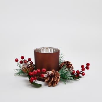 Glass Candle Holder with Holly