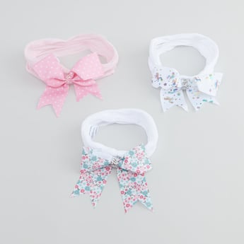 Set of 3 - Hairbands with Printed Bow Applique