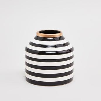 Striped Vase with Metallic Rim - 13 cms