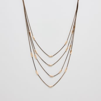 Embellished Multi-Layered Necklace with Lobster Clasp
