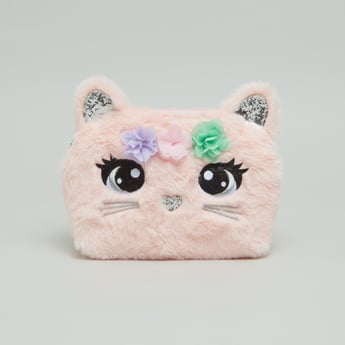 Cat Textured Crossbody Bag with Zip Closure and Adjustable Strap