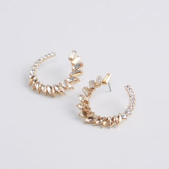 Studded Hoop Earrings with Pushback Closure