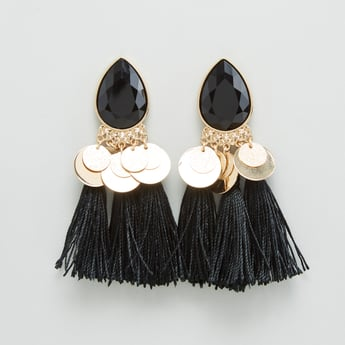 Studded Dangling Earrings with Tassel Detail and Pushback Closure
