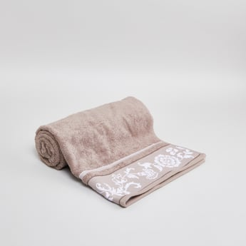 Floral Print Textured Bath Towel