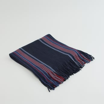 Textured Scarf with Stripe Detail