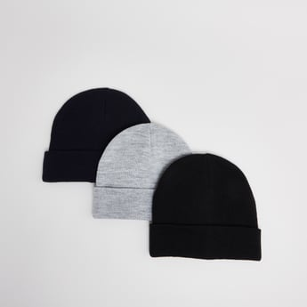 Set of 3 - Plain Beanie Caps
