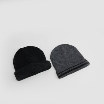 Set of 2 - Textured Beanie Caps