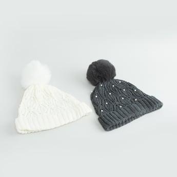 قبعة بيني بكرات بوم بوم - طقم من قطعتين