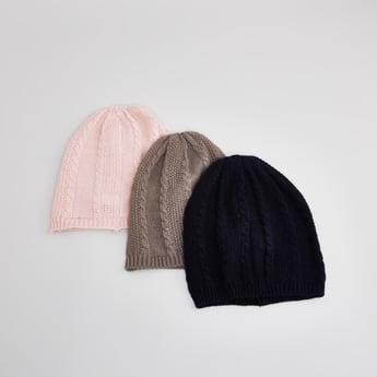 قبعة بارزة الملمس- طقم من 3 قطع
