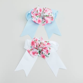 Set of 2 - Hair Clip with Floral Printed Bow