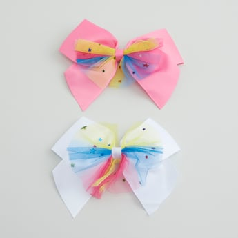 Set of 2 - Hair Clips with Bow Accent