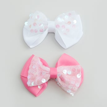 Set of 2 - Hair Clips with Bow Applique