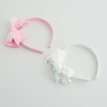 Set of 2 - Bow Applique Detail Hair Bands