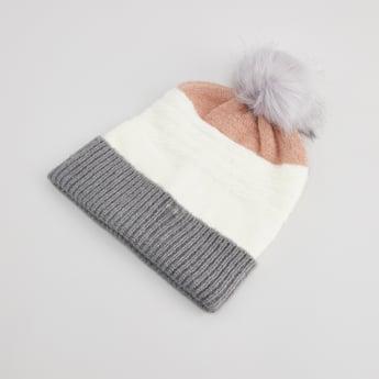 Textured Beanie Cap with Pom-Pom