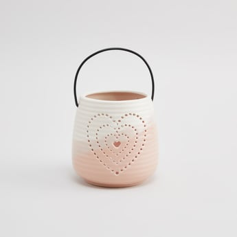 Heart Shaped Perforated Candle Holder with Handle