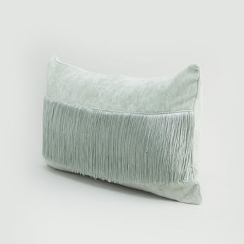 Rectangular Filled Cushion with Fringe Detail - 50x30 cms