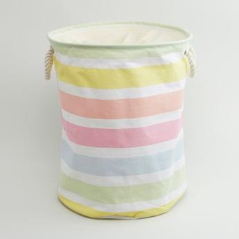 Striped Round Laundry Hamper - 49x38 cms