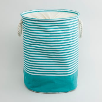 Striped Laundry Hamper with Handles - 49x38 cms