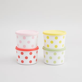 Set of 4 - Printed Containers with Lid
