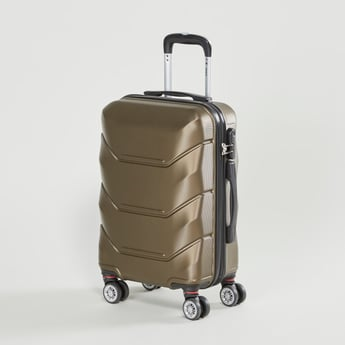 Textured Hard Case Luggage with Retractable Handle and Caster Wheels - 35x23x49 cms