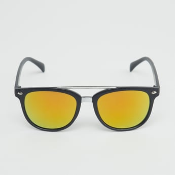 Full Rim Mirrored Wayfarer Sunglasses with Top Bar