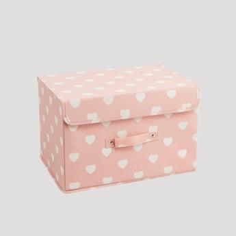 صندوق تخزين بطبعات قلوب - 38x25x25 سم