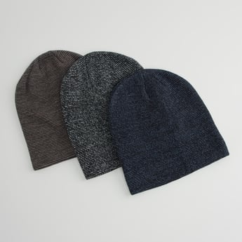 Set of 3 - Textured Beanie Caps