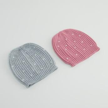 Set of 2 - Embellished Beanie Cap