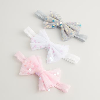 Set of 3 - Bow Applique Detail Hair Bands