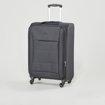 Textured Soft Case Luggage with Retractable Handles and Caster Wheels - 41x27x58 cms